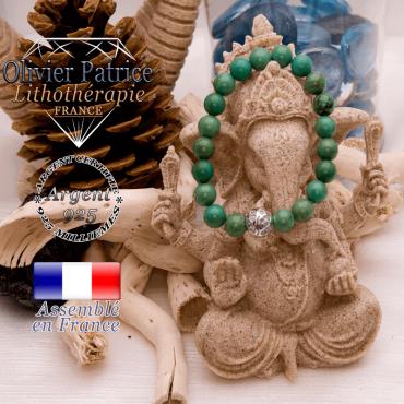 Bracelet turquoise du Tibet et boule gravée en argent 925