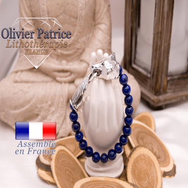 Bracelet en lapis lazuli avec tête de loup pour homme