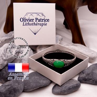 Bracelet toile d'araignée agate verte fermé en argent 925