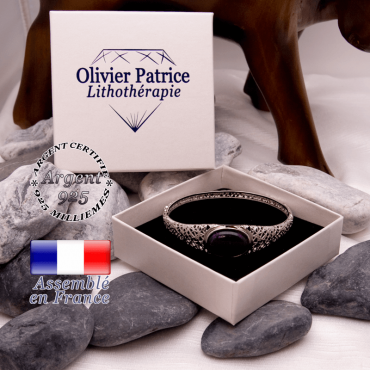 Bracelet toile d'araignée agate à bandes violettes fermé en argent 925