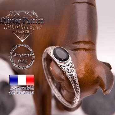 Bracelet toile d'araignée en onyx, fermé, en argent 925
