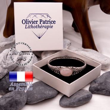 Bracelet toile d'araignée quartz rose fermé en argent 925
