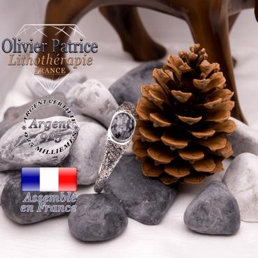 Bracelet toile d'araignée obsidienne neige fermé en argent 925