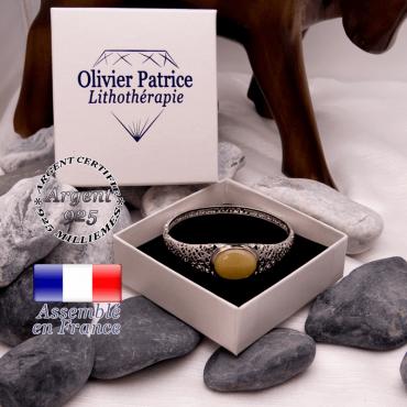 Bracelet toile d'araignée en onyx jaune, fermé, en argent 925