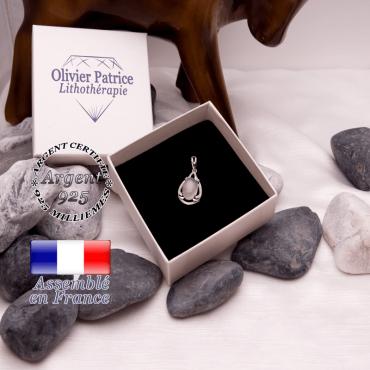 Pendentif cristal de roche goutte d'eau en argent 925