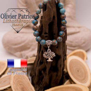 Bracelet agate à dentelle bleue charms arbre de vie alliage