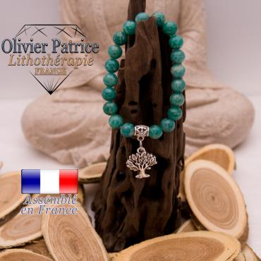 Bracelet amazonite russe charms arbre de vie en alliage