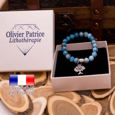 Bracelet apatite charms arbre de vie alliage