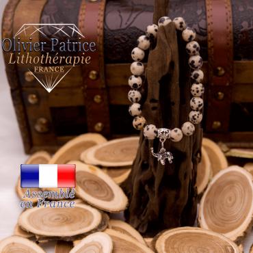 Bracelet jaspe dalmatien charms éléphant alliage