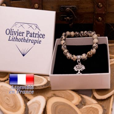 Bracelet jaspe dalmatien charms arbre de vie alliage