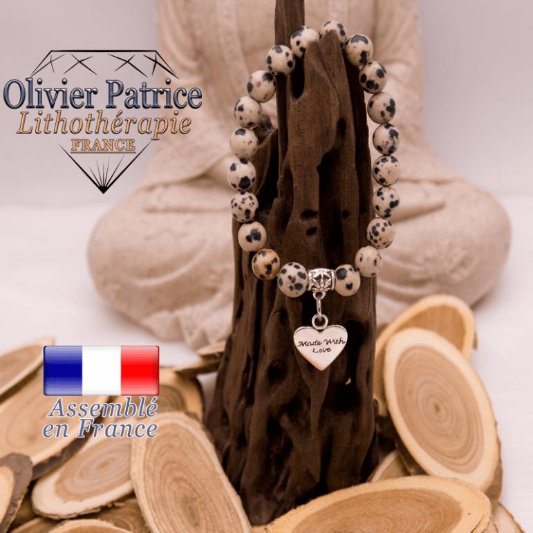 Bracelet jaspe dalmatien charms coeur alliage