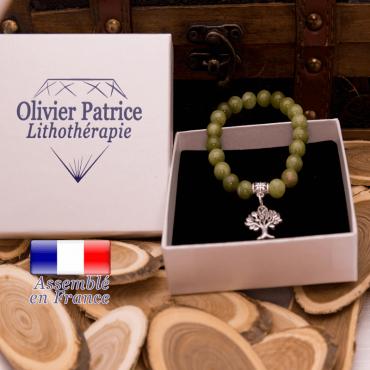 Bracelet jade néphrite du Canada charms arbre de vie alliage