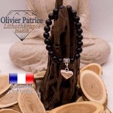 Bracelet spinelle charms coeur en alliage