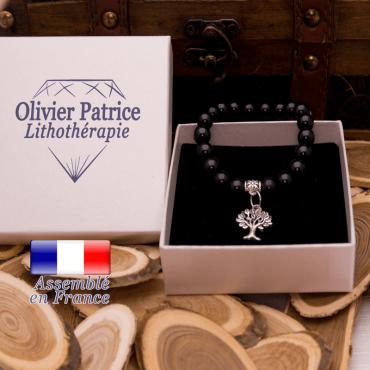 Bracelet tourmaline noire charms arbre de vie en alliage