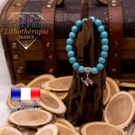 Bracelet turquoise et ses 5 finitions charms en alliage