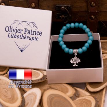 Bracelet turquoise et son charms arbre de vie en alliage