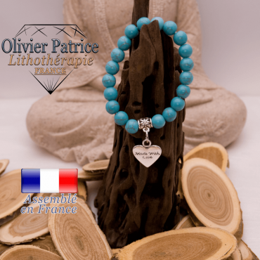 Bracelet turquoise et son charms coeur en alliage