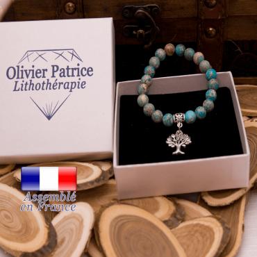 Bracelet jaspe impérial bleu turquoise charms arbre de vie en alliage