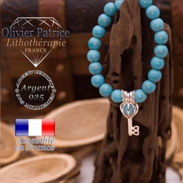 Bracelet turquoise et sa cage clé en argent 925