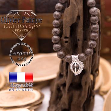 Bracelet obsidienne neige brune et sa cage strass argent 925