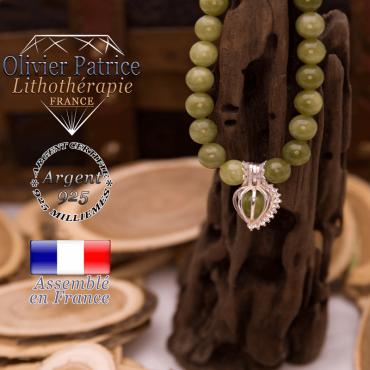 Bracelet jade néphrite du Canada cage strass argent 925