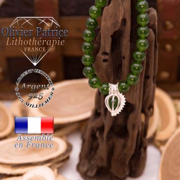 Bracelet jade de Taiwan cage strass argent 925