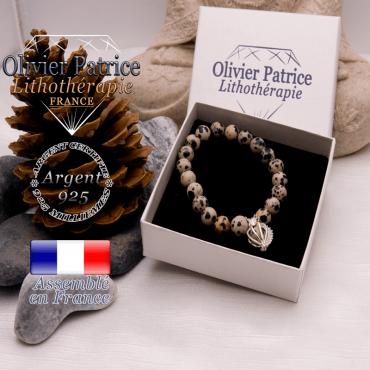 Bracelet jaspe dalmatien cage strass argent 925