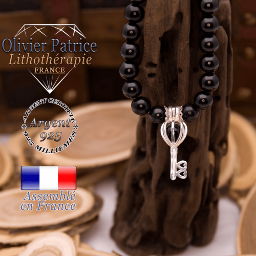 Bracelet obsidienne œil céleste cage clé argent 925