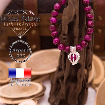 Bracelet Œil de Tigre teinte violette cage strass argent 925