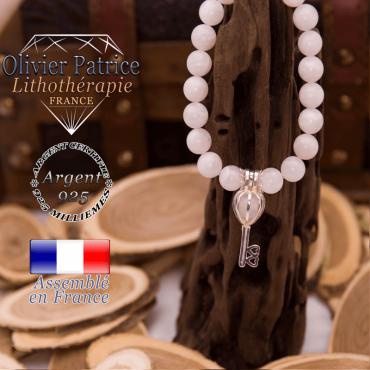 Bracelet  pierre de lune cage clé argent 925
