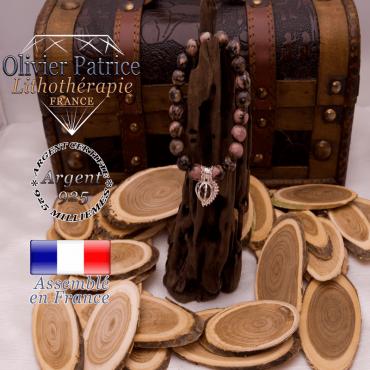 Bracelet rhodonite cage strass argent 925