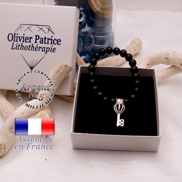 Bracelet spinelle cage clé argent 925