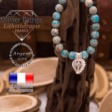 Bracelet agate dentelle cage strass argent 925