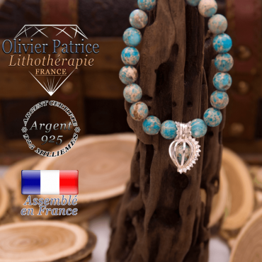 Bracelet jaspe impérial bleu turquoise cage strass argent 925