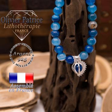 Bracelet agate à bandes bleues et sa cage strass en argent 925
