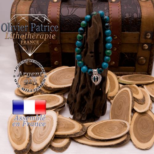 Bracelet chrysocolle et sa cage strass en argent 925