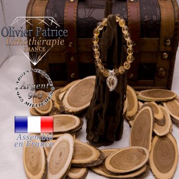 Bracelet citrine et sa cage strass en argent 925