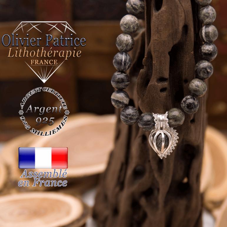 Bracelet jaspe zèbre vert cage strass argent 925