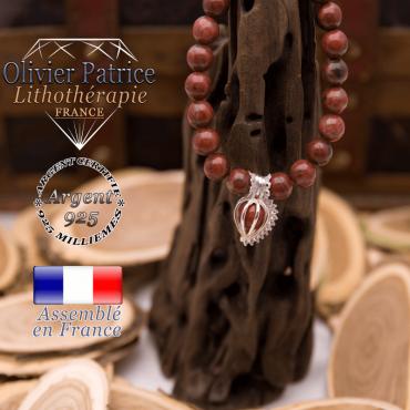 Bracelet jaspe rouge cage strass argent 925