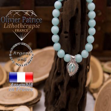 Bracelet jade bleu cage strass argent 925