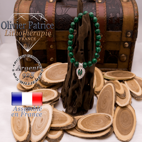 Bracelet malachite et sa cage strass en argent 925