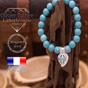 Bracelet turquoise et sa cage strass en argent 925