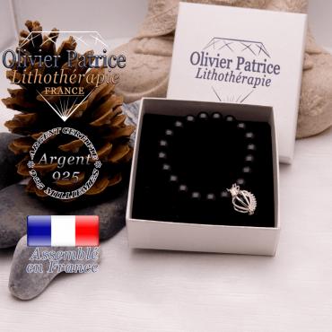 Bracelet tourmaline noire cage strass argent 925