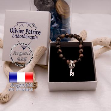 Bracelet rhodonite cage clé argent 925