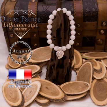 Bracelet  pierre de lune cage strass argent 925