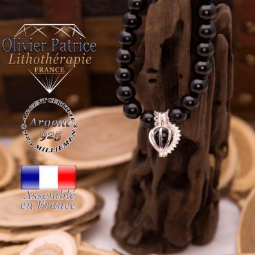 Bracelet obsidienne œil céleste cage strass argent 925