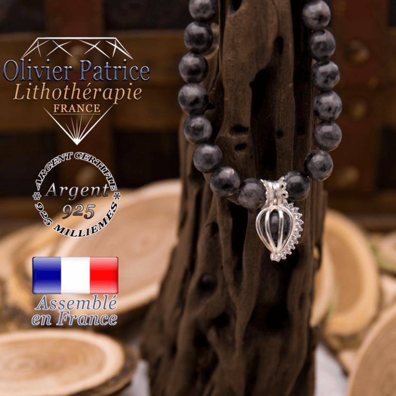 Bracelet larvikite et sa cage strass en argent 925