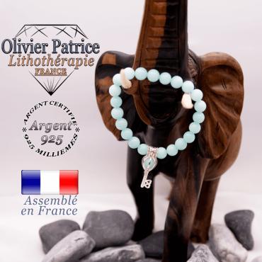 Bracelet jade bleu et sa cage clé en argent 925