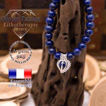 Bracelet lapis lazuli et sa cage strass en argent 925