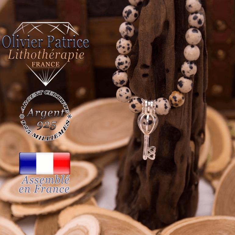 Bracelet jaspe dalmatien cage clé argent 925